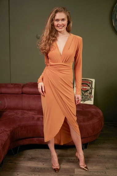Wrap over Midi Dress with Front Slit in Mustard Yellow colour by Jenerique
