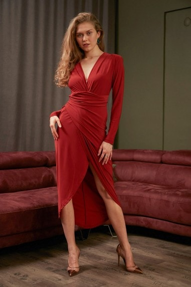 Wrap over Midi Dress with Front Slit in Brick Red colour by Jenerique
