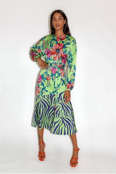 Green Midi Dress in Floral and Animal Contrast Print