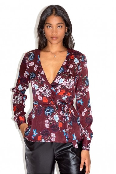 Burgundy Floral Wrap Top