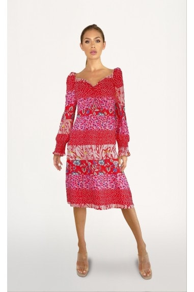 Lima Red Mixed-Print Midi Tea Dress