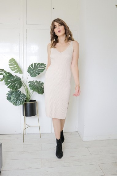 Light Knit Midi Strappy Dress In Nude
