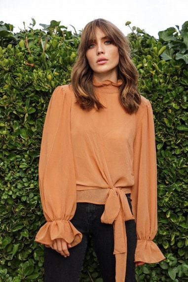 Camel Cross Over High Neck Blouse