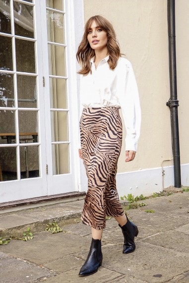 Zebra Satin Midi Skirt