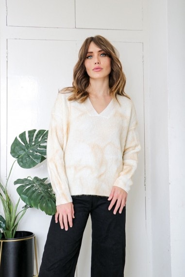 Cream Light Tie Dye Knit