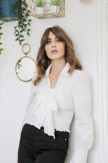 Ivory Tye Neck Cropped Shirt