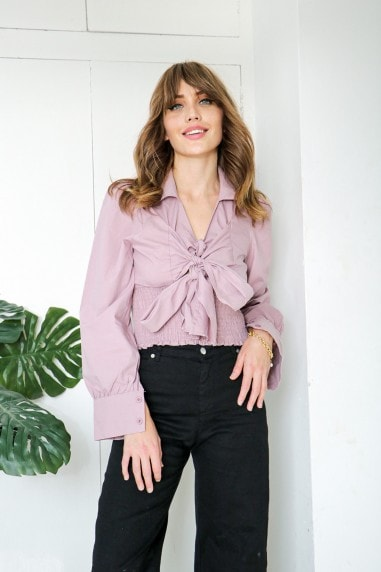 Dusty Pink Tye Neck Cropped Shirt