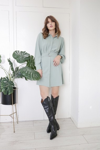 Sage Green Tye Waist Shirt Dress