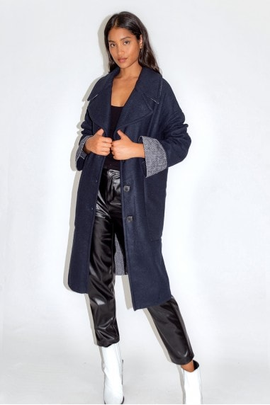 Navy Coat With Contrast Cuffs