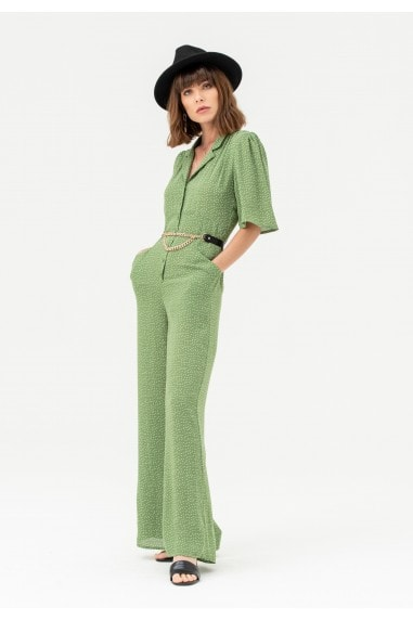 Short Sleeve Button Jumpsuit in Green Polka