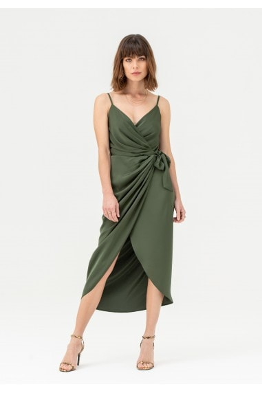 Tie Side Cami Wrap Dress in Khaki