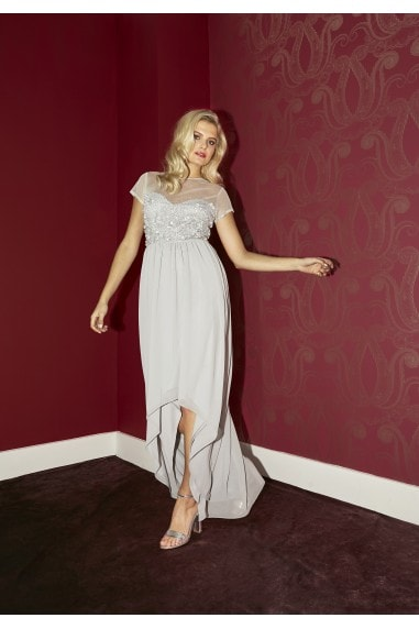 Bridesmaid Elise Grey Hand-Embellished Sequin Hi-Low Prom Dress