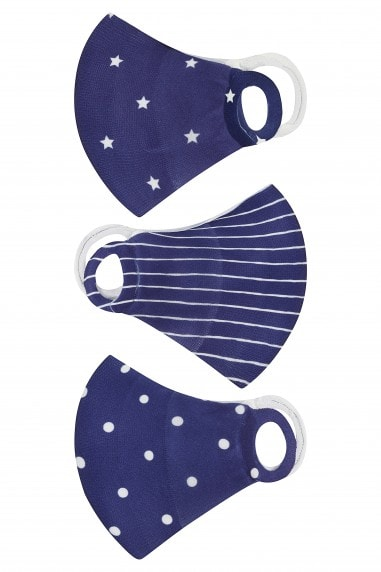 Navy Spot And Stripe 3 Pack Kids Mask Face Coverings