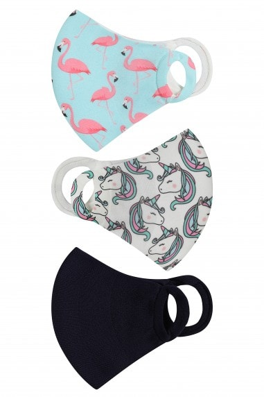 Unicorn And Flamingo Print 3 Pack Kids Mask Face Coverings