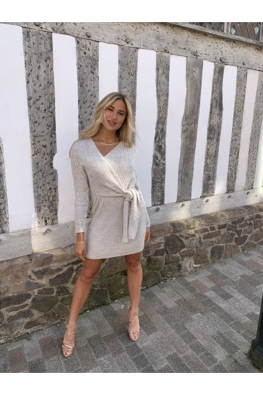 Beige Wrap Long Sleeve Light Knit Mini Dress