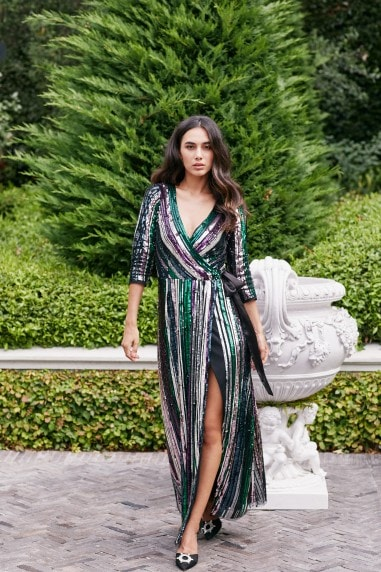 Cecily Rainbow Sequin Embellished Maxi Wrap Dress