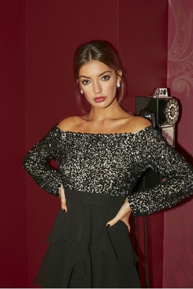 Amirah Black Embellished Bardot Frill Midaxi Dress