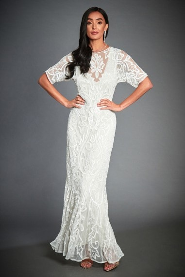 WHITE BEADED GATSBY WEDDING GUEST MAXI DRESS