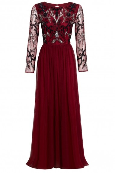 EMBELLISHED LONG SLEEVE VINE RED BRIDESMAID DRESS