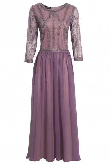 EMBELLISHED LONG SLEEVE VIOLET BRIDESMAID MAXI DRESS