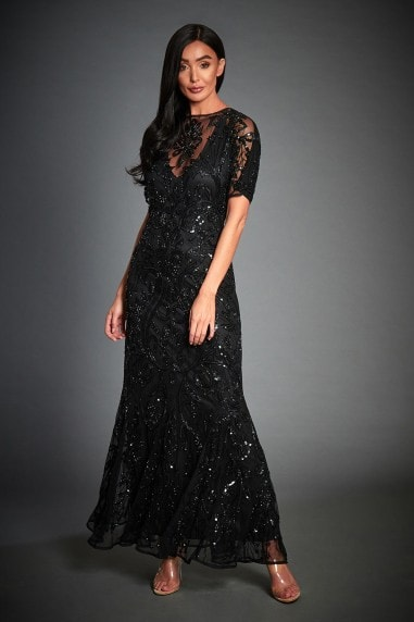 BLACK BEADED GATSBY WEDDING GUEST MAXI DRESS