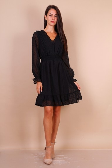 Dobby Lace Mini Dress With Shirred Waist In Black