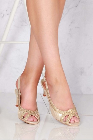Tara low kitten heel open toe sling back shoe in Gold