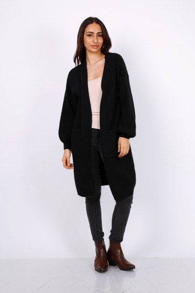 Chunky Knit Oversized Cardigan In Black