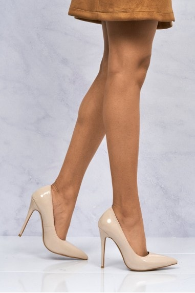 Mila High Stiletto Heel Court Shoe In Nude Patent