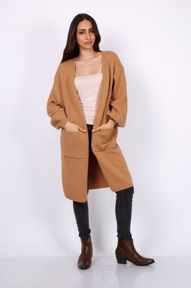 Chunky Knit Oversized Cardigan In Camel