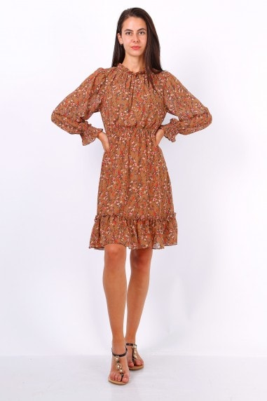 Camel Ditsy Floral Long Sleeve Frill Hem Dress