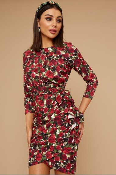 Wren Rose-Print Long sleeve Mini Dress