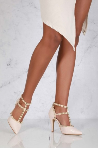 Kloss Mid Heel Rock Stud Sling Back in Nude Patent