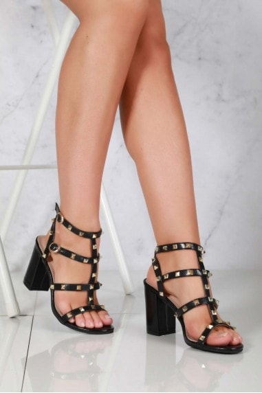 Abigail ankle strap with studs sandal in Black Matt