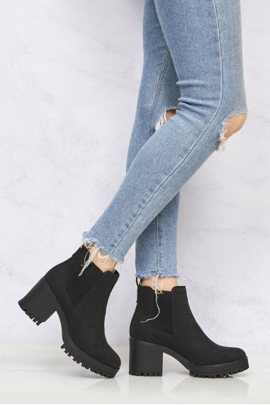 Faith Cleated Sole Slip On Ankleboot in Black Suede