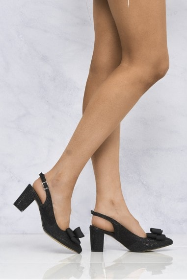 Kirra Slingback With Bow Trim Court in Black Glitter