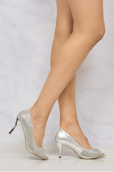 Daniella Med Heel Open Toe Dim Shoe in Silver