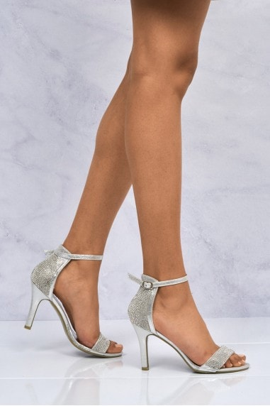 Chantel Open Toe Ankle Strap Sandal in Silver