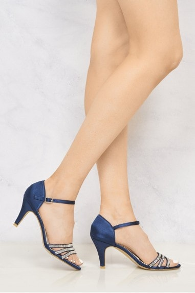 Ashley 3 Strap Diamante Open Toe Glitter Sandal in Navy