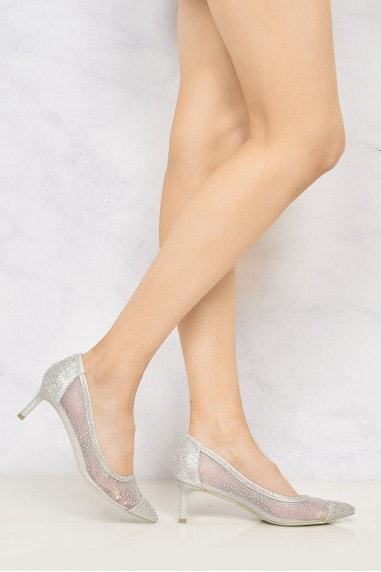 Sienna Pointed Toe Diamante Mesh Court Shoe in Silver
