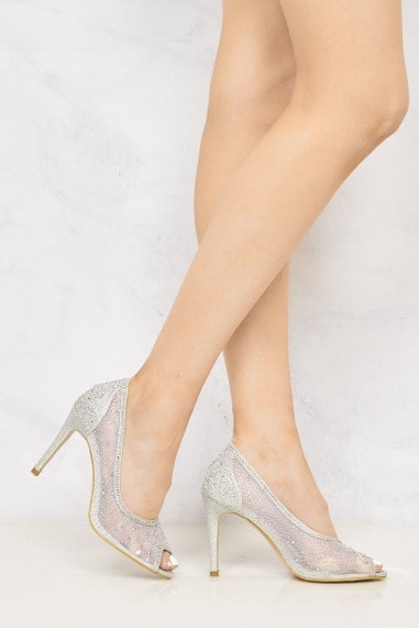 Emma Diamante Peep Toe HIgh Heel in Silver
