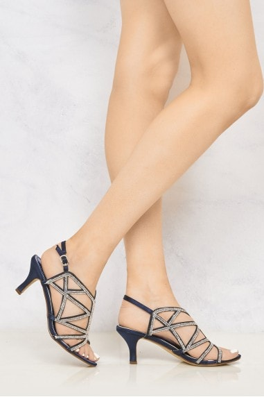 Minnie Diamante Crossover Straps Anklestrap Sandal in Navy