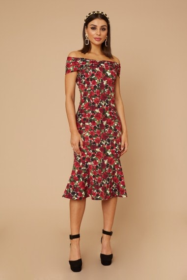 Remy Rose-Print Bardot Midi Dress