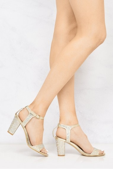 Palisse Dia Stud Anklestrap Sandal In Gold