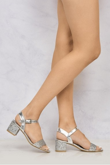 Ruby Block Heel Glitter Ankle Strap In Silver