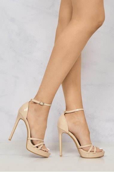 Amelia Crossover Strap Platform Sandal in Nude Patent