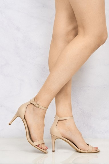 Ayda barely There Mid Stiletto Sandal In Nude Pu