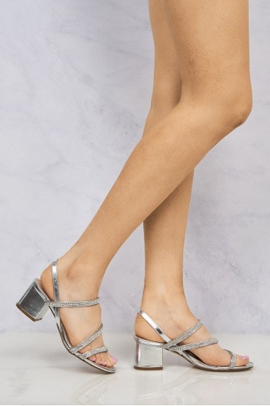 Darwin Crisscross Diamante Block Sandal In Silver