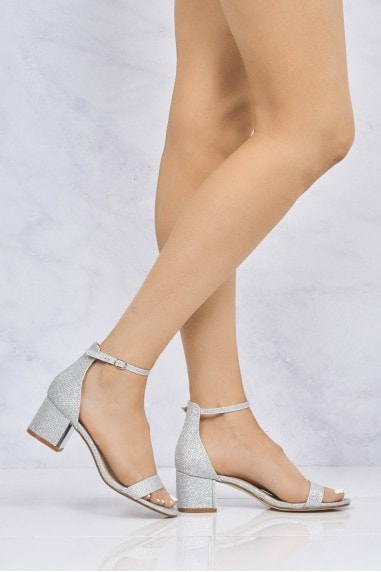 Elodie Gold Trim Anklestrap Sandal In Silver