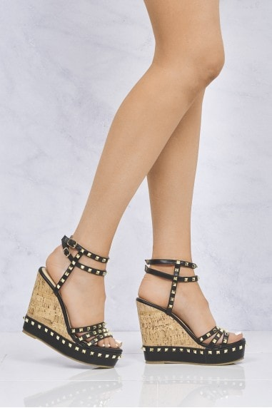 Whizzer Studded Cork Anklestrap Wedge In Black
